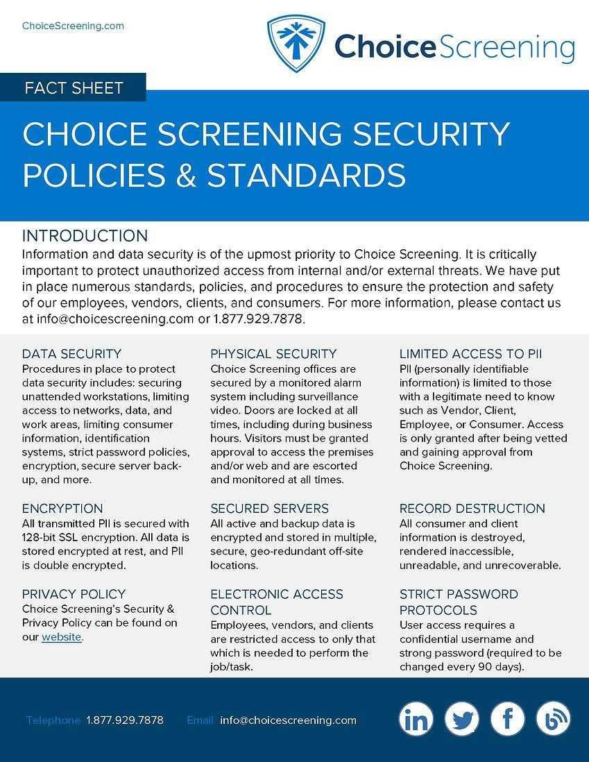 Choice Screening - Information Security Standards - Fact Sheet